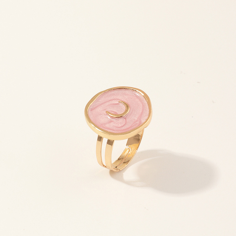 2020 New Female Rings Jewelry Womens Fashion Wedding Alloy Drop Oil Love Moon Lightning Round Finger Rings Gifts For Girls Party