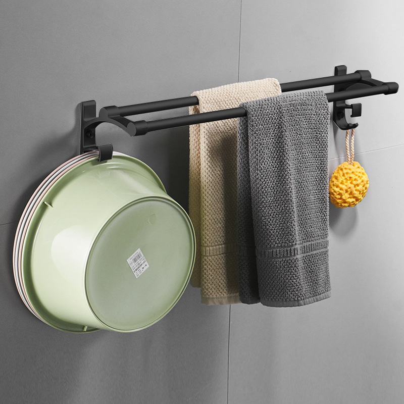 Manufacturers Direct Selling Black And White With Pattern Towel Rack Alumimum Toilet Wall Hangers Storage Shelf Towel Rack North