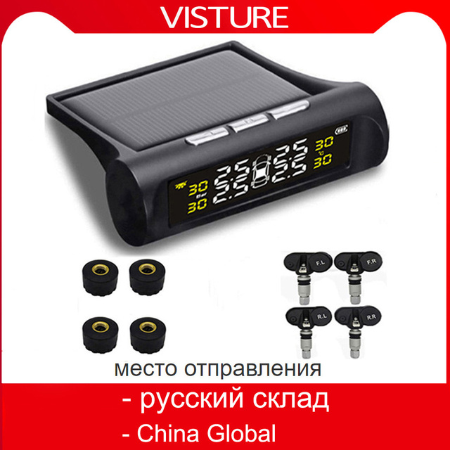 Solar TPMS Car Tire Pressure Alarm Monitor System 4 Wheel Internal External Tyre Sensor Temperature Alert D02W D02N Pro Visture