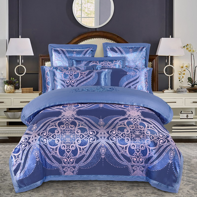 KELUO Luxury Wedding Jacquard Mulberry Silk Bedding 100%cotton Embroideredincluding Duvet Cover Bed Sheet Pillowcase  Blue A07