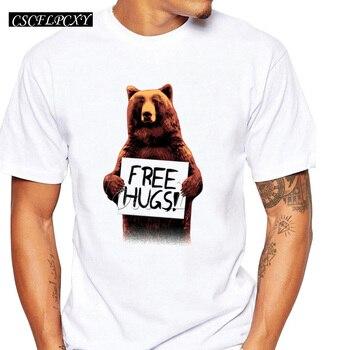 Самая дешевая мужская футболка на заказ, свободные объятия, топы с буквенным принтом, коричневый медведь, животный дизайн, короткий рукав, хипстер, забавная классная футболка