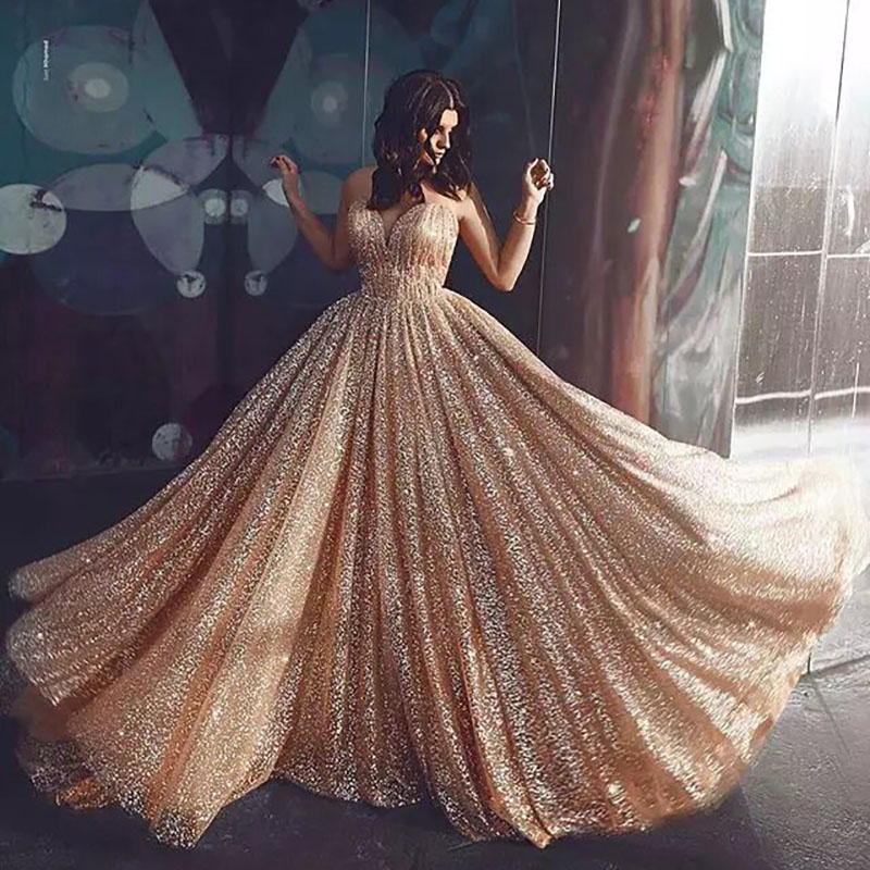 MYYBLE Boho Wedding Dresses 2020 A Line Glitter Princess Bride Dress Wedding Gowns Champagne Spaghetti Straps Vestidos De Novia