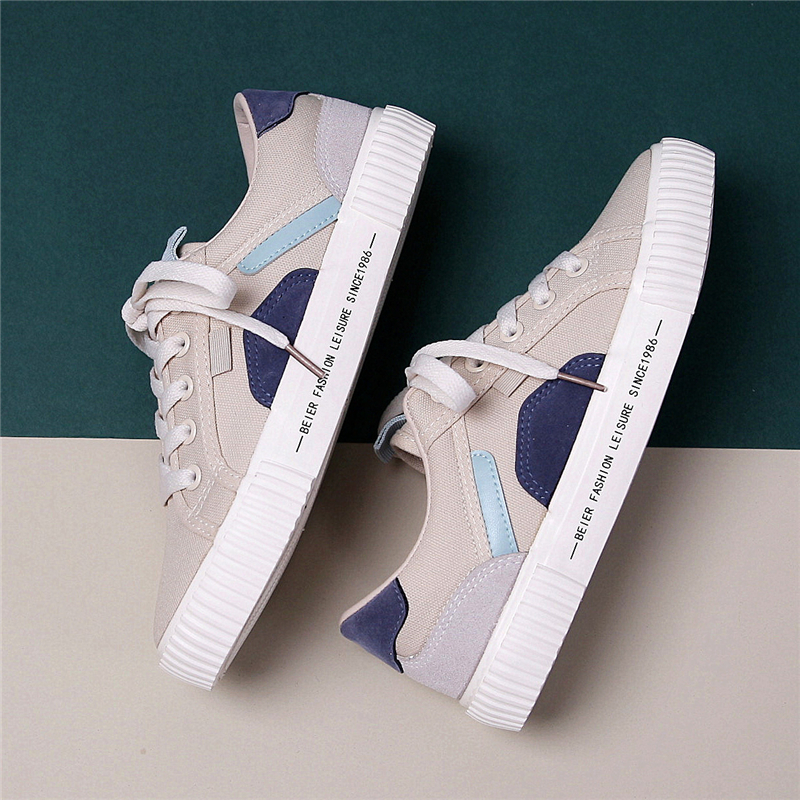 Trend Casual Sneakers Spring New 2020 Women's Shoes Breathable Women Shoes Fashion Patchwork Canvas Flats Shoes Female Sneakers