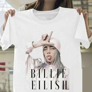 Billie Eilish T Shirt Harajuku Fans White Cotton Men Camiseta Mujer Hot Selling Man Aesthetic Top Tee Plus Size Streetwear Cool(China)