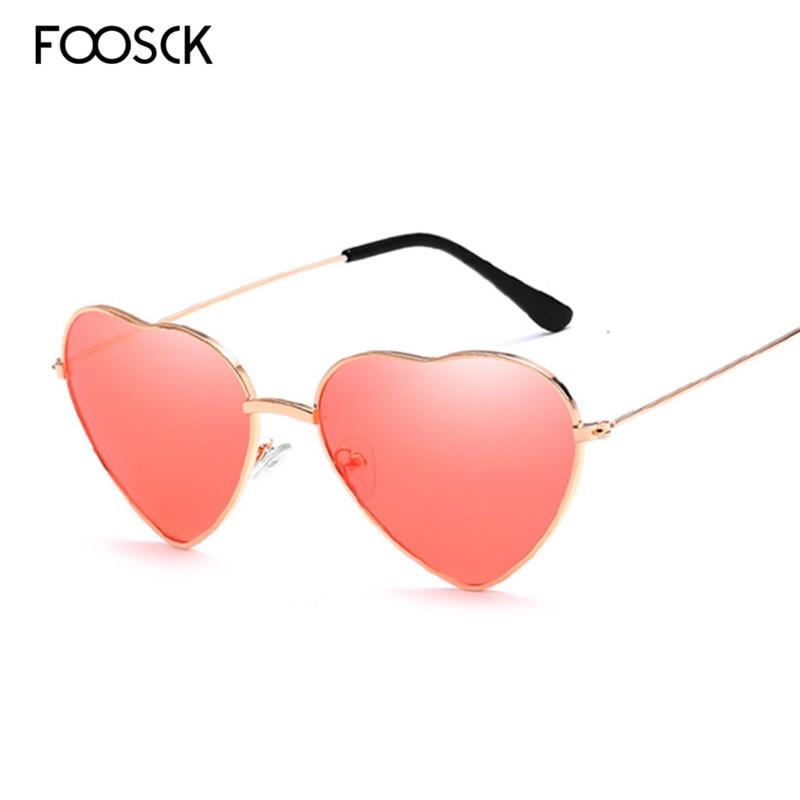 FOOSCK Luxury Sun Glasses Brand Designer Women Heart  Red Yellow Pink Gafas Shades Lady Vintage Eyewear UV400