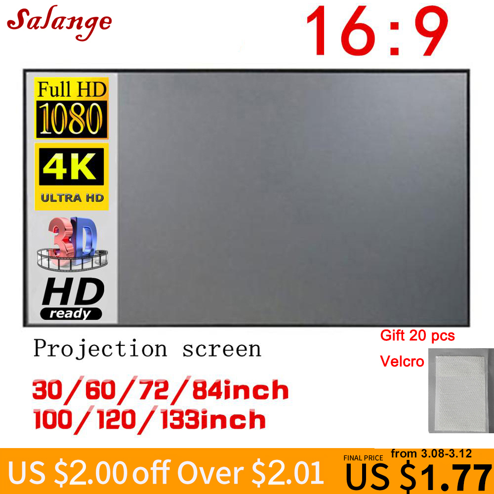 Salange Projector Screen Fabric 100 120 inch Screen Projection Portable Reflective Cloth For XGIMI H3 H2 YG400 for Xiaomi Beamer