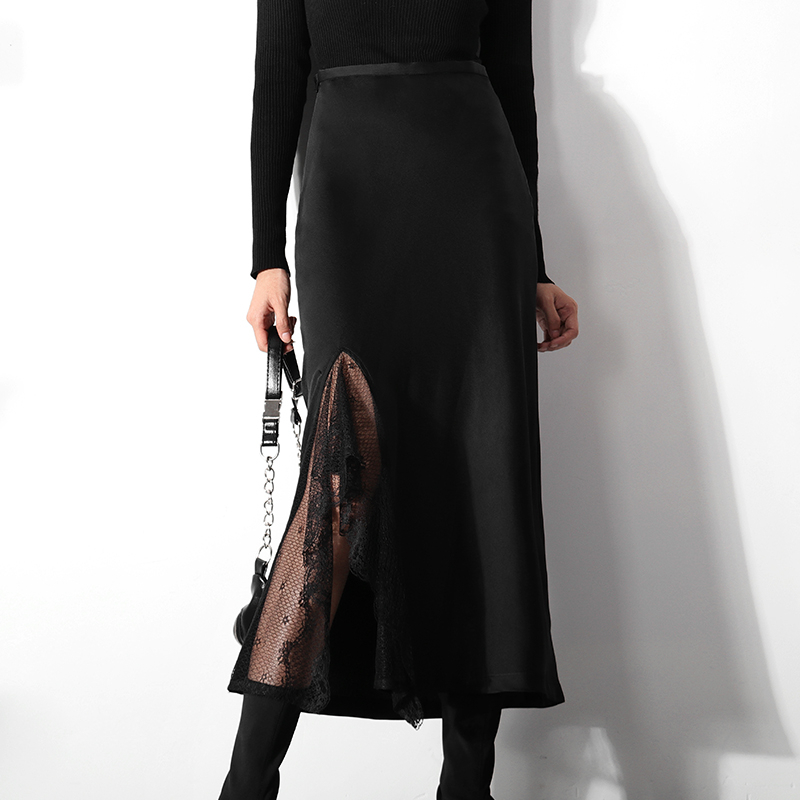 LANMREM 2020 Spring Summer New Black Lace Patchwork A-line Skirt Temperament Hollow Out Vent Sexy Elegant Half-body Skirt YJ084
