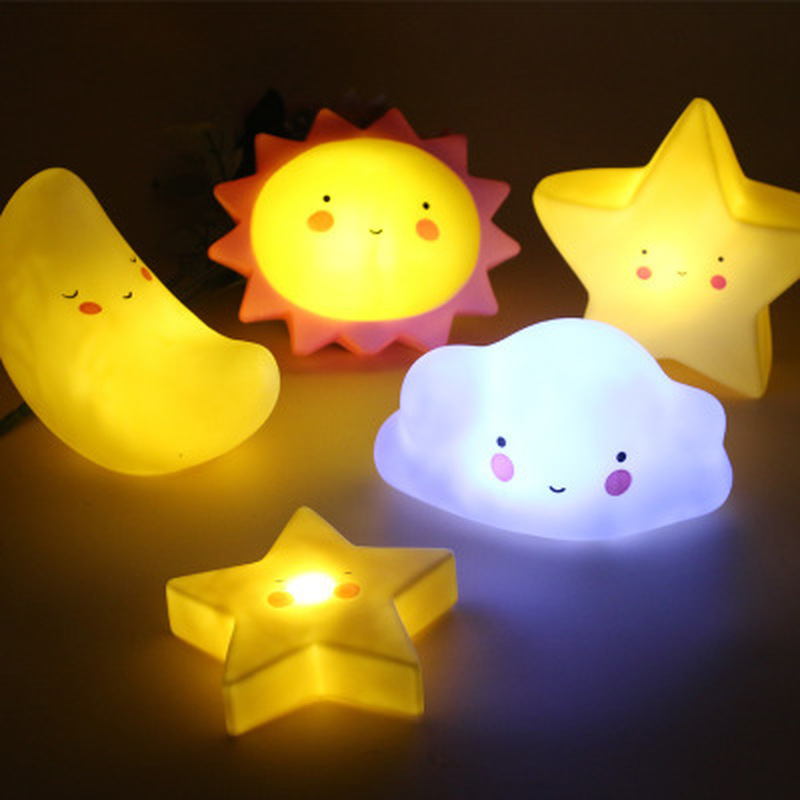 Cartoon Smiley Clouds Stars Moon Appease Glow Night Light 3D Feeding Light Baby Sleeping Toy Kids Christmas Gifts For New Year