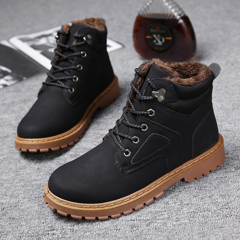 Men Boots Winter Martin Booties Botas Hombre Ankle Motorcycle Shoes Man Casual Sneakers Top Brand Plush Warm Male Footwear Adult