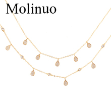 Molinuo water drop shape white zircon fashion female necklace exquisite simple