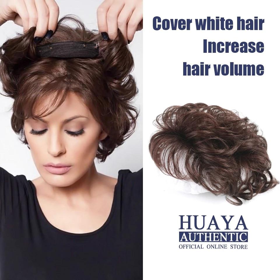 Huaya Wanita Kepala Atas Tak Terlihat Mulus Tenunan Tangan Mereka Sintetis Potongan Rambut Keriting Pendek Dengan Poni Kepala Top Rambut Sintetis Poni Aliexpress