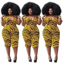 Plus Size Playsuit Summer Women Sexy V Neck Leopard Short