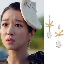 2020 корейские висячие серьги с листьями и ТВ звездами Женская