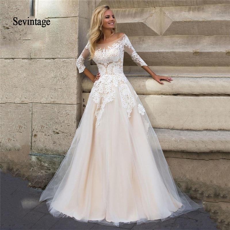 Sevintage Champagne 3/4 Long Sleeves Boho Wedding Dresses Lace Appliqued Scoop Bridal Gowns Plus Size Vestido De Noiva Princesa