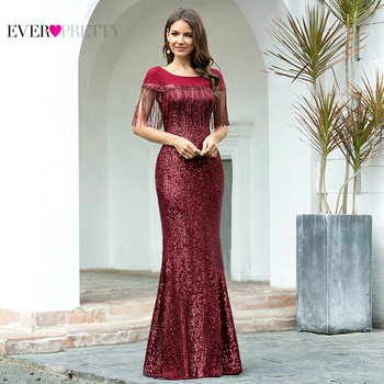 Glitter Burgundy Prom Dress Ever Pretty EP00695BD Elegant Mermaid O Neck Short Sleeve Tassel Sequined Dresses Woman Party Night - discount item  57% OFF Special Occasion Dresses