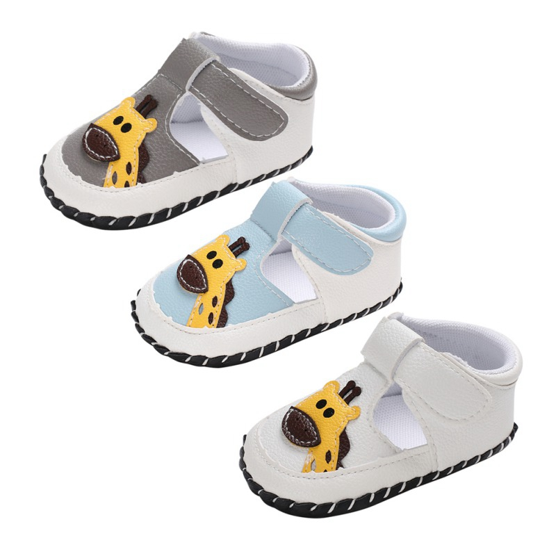 Newborn Girls Shoes Boys First Walkers Shoes Elephant Giraffe Printed Toddler Anti-Slip Soft Baby First Walkers PU Shoes 0-18M