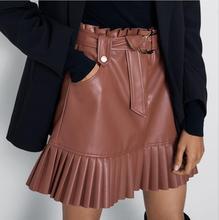Black PU Skirts Women Fashion Faux Leather Skirt Women Elegant Tie Belt Waist Mini Skirts Female Ladies pleated skirt mini skirt black fashion sequins embellished mini skirt