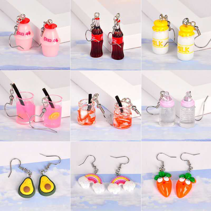 New Cola Cup Rainbow Fruit Creative Personality Drop Earrings Female Japan And South Korea Funny Ear Hook Small Earrings Female