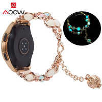 20mm 22mm Luminous Agate Strap Jewelry for Samsung Galaxy Watch Active2 42mm 46mm Gear S2 S3 Huawei Amazfit Metal Bracelet Band