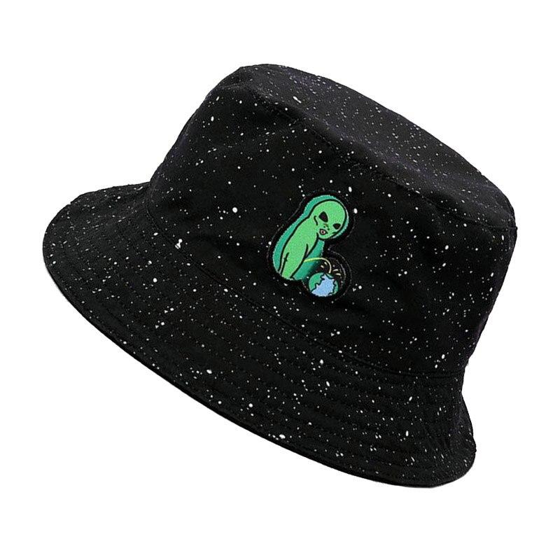 Joylife Alien Embroidered Bucket Hat Packable Fisherman Cap Unisex Outdoor Hat Trendy Sun Hats Green Alien Black