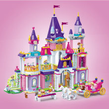 Childrens LegoNing blocks Ellie Princess Castle birthday party assembled DIY small particles girl building toys