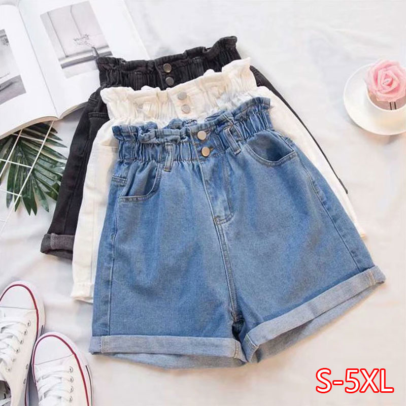 Plus Size Summer Black Women's Denim Shorts Large Size 5Xl Harem Ruffle White High Waisted Shorts Elastic Waist Jeans For Women