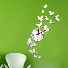 Diy Mirror Clock Acrylic Wall Background Butterfly Group