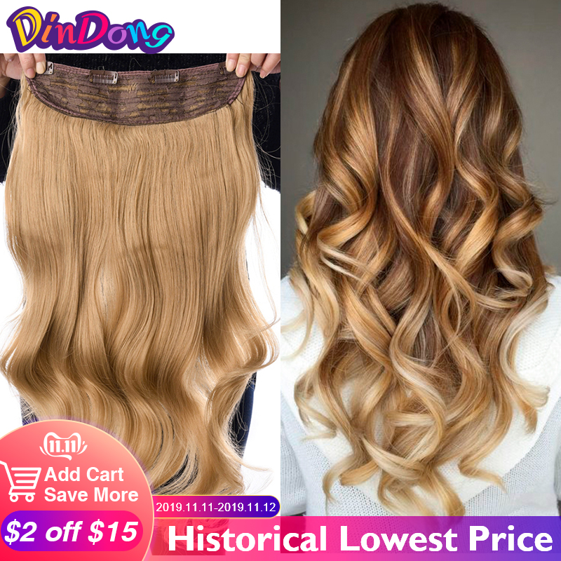 DinDong Clip In Hair Extensions Synthetic Wavy 24 Inch 190G Premium Heat Resistant Hair 613# Blonde Brown 19 Colors Available
