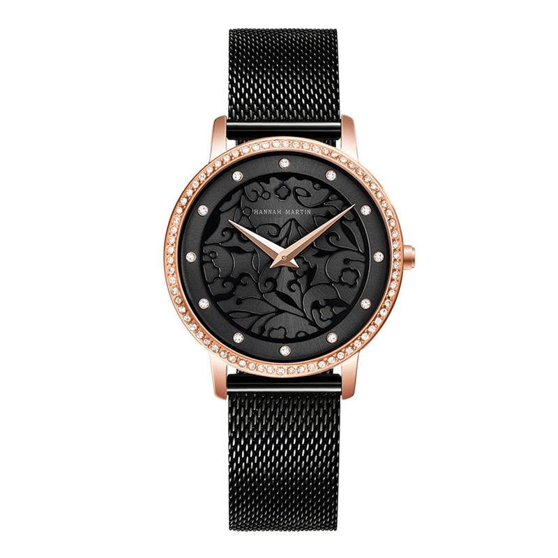 Hannah Martin Quartz Women Watches Waterproof Fashion Simple Style Top Brand Luxury 3D Carved Watches Women Zegarek Damski