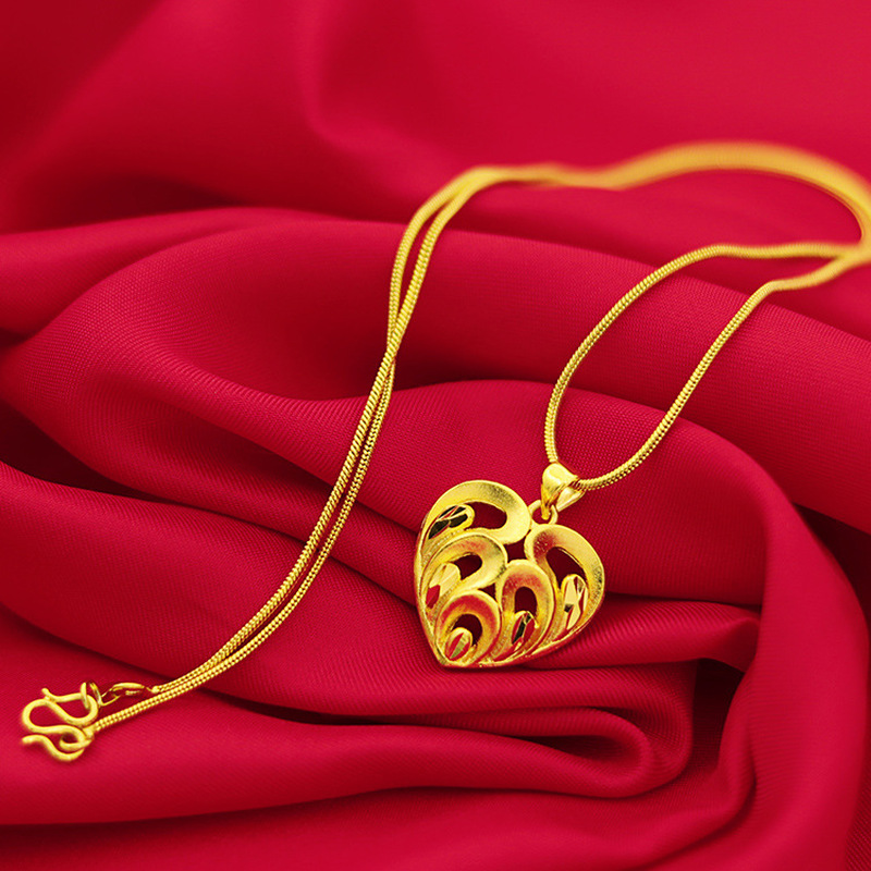 Romantic Gold Necklace Pure 14k Yellow Gold Jewelry Small Heart Chain Necklace Chocker Jewelry For Women Wedding Statement Gifts