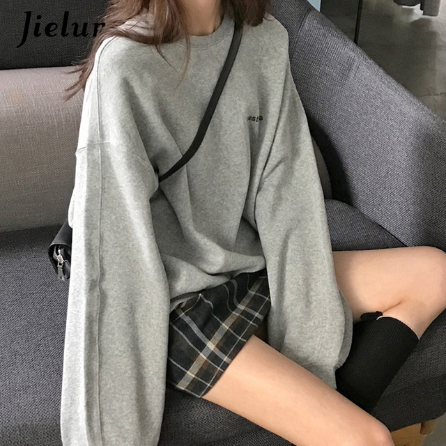 Jielur 2021 New Kpop Letter Hoody Fashion Korean Thin Chic Women's Sweatshirts Cool Navy Blue Gray Hoodies for Women M-XXL 6