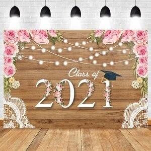 Image 1 - 2021 כיתת סיום עונה הראשון שווי רקע לצילום Congratul מסיבת עץ לוח פרח תמונה רקע שיחת וידאו