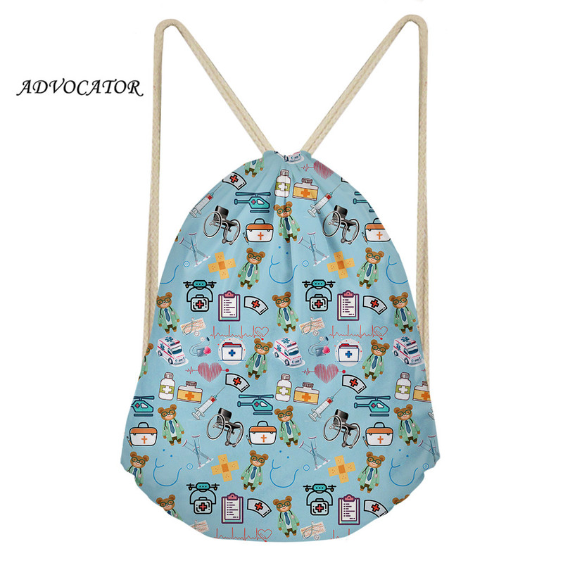 Travel Package Cartoon Medical Tools Drawstring Backpack Bag Portable Casual String Knapsack For Women Men Mochila Tela Cordon