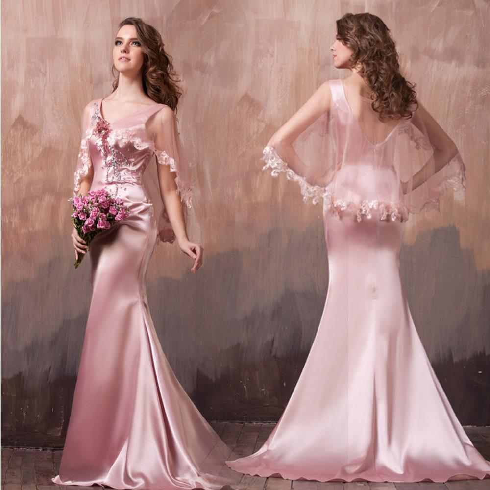 Elegant V-neck Fish Tail New Fashion Sexy Holiday Vestidos Formales Long Pink Evening Gowns Crystal Mother Of The Bride Dresses