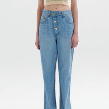 Classic Washed Blue High Waist Oblique Placket Button Straight Leg Jeans Fashion Casual All-Match Thin Trousers 2021 Women's New