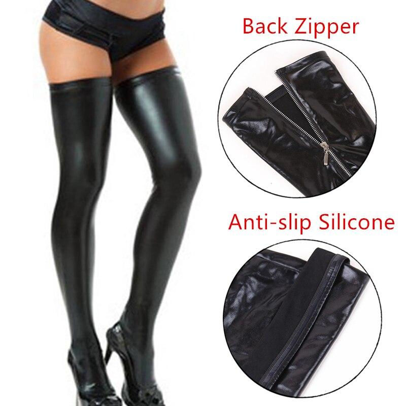 S - XXL ботинки высокого качества из силикона, который не скользит, кожаные чулки сексуальное черное Молния сзади чулки Клубная Одежда для тан...