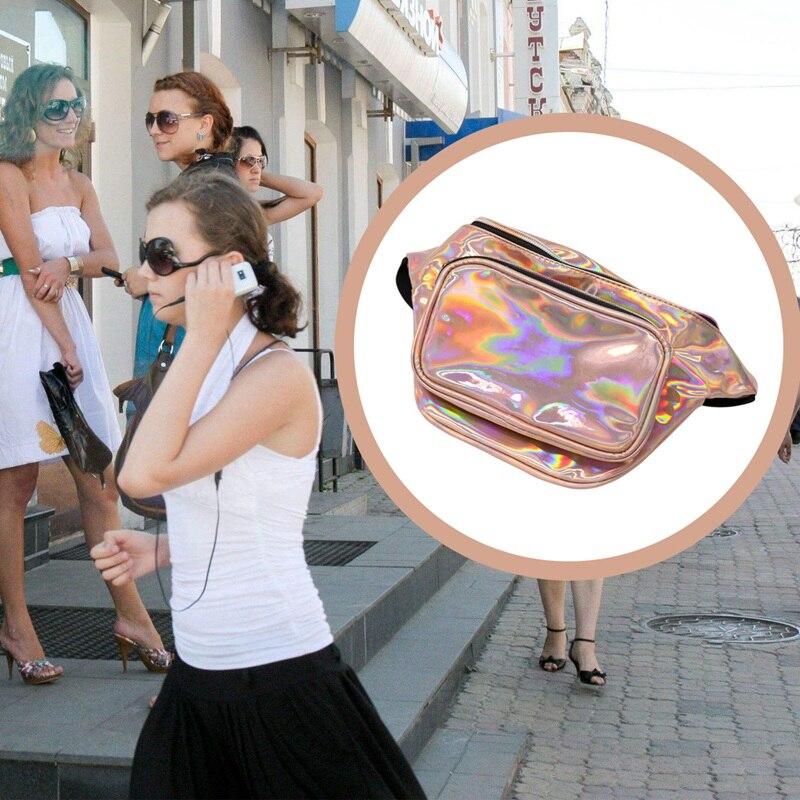 ABZC-Women Hologram Laser Waist Bag Fashion Shiny Neon Fanny Pack Punk Reflective Bum Bag Travel Purse Gold