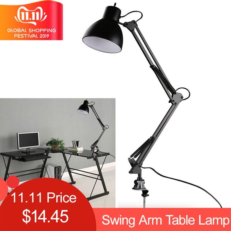 Us 15 53 26 Off Flexible Swing Arm Clamp Mount Desk Lamp Black Table Light Reading For Home Office Studio Study 110v 240v Room In
