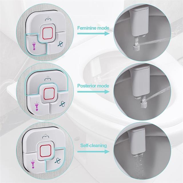 Samodra Bidet Toilet Seat Attachment Ultra-thin Non-electric Dual Nozzles Frontal & Rear Wash For Bathroom Toilet Bidet Sprayer 4