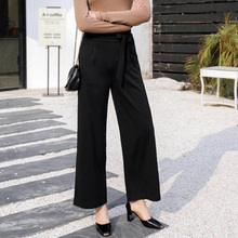 Women Wide Leg Pants High Waist Black Basic Office