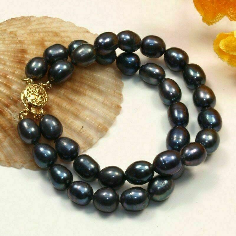 Genuine 2 row 8-9MM Natural black Freshwater Cultured Pearl Bracelet Bangle 7.5″