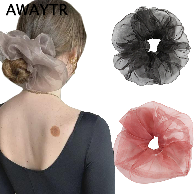 AWAYTR Vintage Hair Band Super Over Sized Soft Gauze Hair Scrunchies Graceful Solid Organza Ponytail Elastic Hair Ties Spring