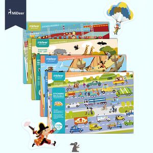 Image 1 - MiDeer חדש לשימוש חוזר מדבקות ספר משחק Pad אוסף צעצועים חינוכיים לילדים פאזל מתנה נשלף רקע סצנות