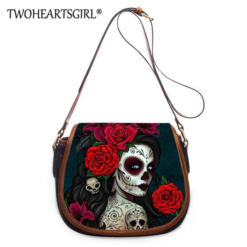 Twoheartsgirl Cool Skull Girls Cross Body Bag for Ladies Travel Small Bags Women Messenger Bag Shoulder BagsFemale Saddle Bag
