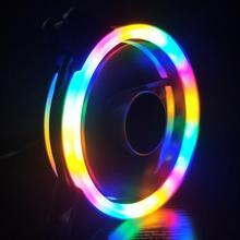 Universal 120mm Fan Dual RGB Licht Kreis Stumm Lüfter Kühler Kühler für Computer Fall Fan 3pin 4pin