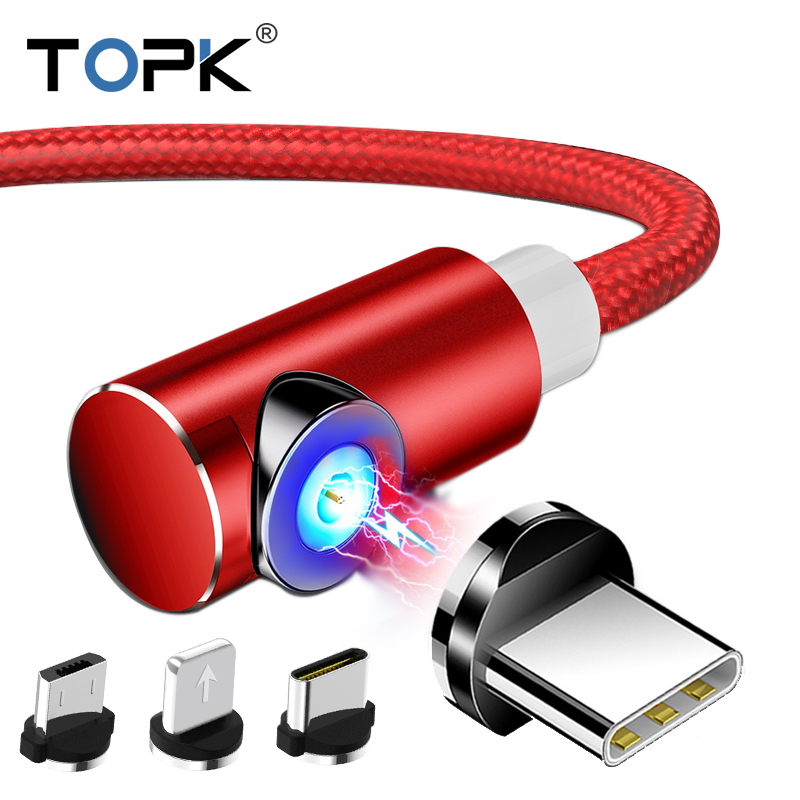 TOPK L-Type Magnetic USB Cable for iPhone x xs Type C Micro Usb Xiaomi Samsung Galaxy S9 S8 Plus Huawei Charger