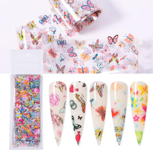 Mixed-Patterns Transfer-Sticker Decorations Flowers Nail-Foils Butterfly Colorful