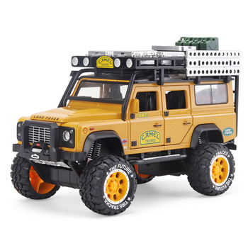 1:28 Alloy Diecast Toy Car Model Camel Defender Metal Toys Vehicles Trophy Pull Back Sound Light Collection For Children Gifts image