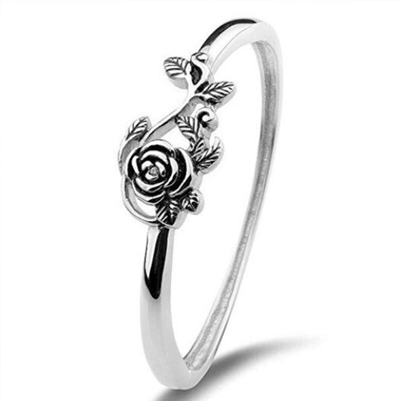 Huitan Vintage Blacke Rose Shaped Women Rings Retro Whole Rose Flower Factory Direct Selling Wholesale Lots&Bulk Women Rings(China)