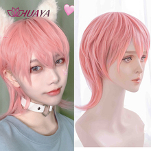Synthetic Wigs Bangs Short Styled-Hair Pink HUAYA Cosplay with Costume Heat-Resistant